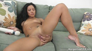 Cock-loving brunette with pink hole