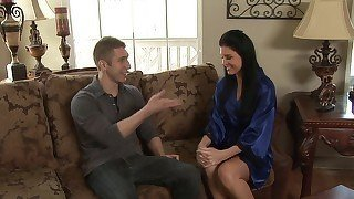 Blue robe brunette stroking this
