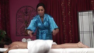 Blue bathrobe masseuse and her