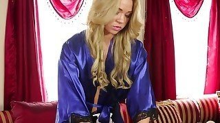 Blue bathrobe blonde massaging a