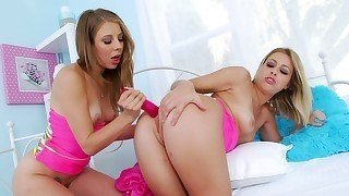 Brunette and blonde enjoy hardcore