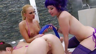 Purple haired babe and her GF go